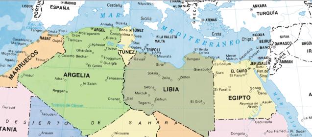 LIBIA MAPA norte de africa